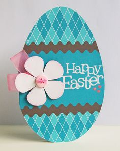 Easter *  Egg-shaped-card - patterned paper, button, ribbon etc.