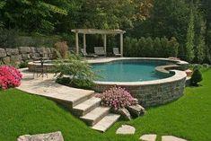 Like The Stone Surround Built On Slope Pool Ideas
