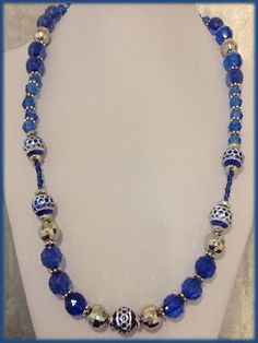 Rosa Enid Cruz Roque: Necklace Set 019 - Blue and Silver Necklace Set
