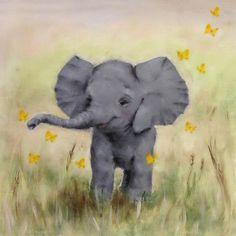 Safari Elephant Painting Nursery Art Painting by Junko Van Norman Elephant Canvas Art, Elephant Nursery Art, Nursery Canvas, Nursery Paintings, Animal Paintings, Elephant Paintings, Baby Elephant Drawing, Duck Nursery, Tattoo Elephant
