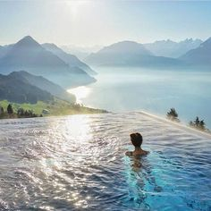 Villa Honegg - the heated outdoor pool at the Boutique Hotel high above Lake Lucerne, Switzerland Places To Travel, Places To See, Travel Destinations, Hotel Villa Honegg Switzerland, Lucerne Switzerland, Amazing Places On Earth, Beautiful Places, Hotel Istanbul, Hotel Villas