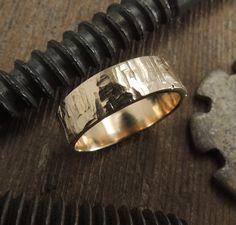 6mm 14k Rose Gold Mens Wedding Band Rugged by PointNoPointStudio