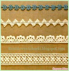 Canotta (schema).  More crochet edgings.  Would like to do these on my pillow cases.