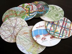Map coasters - a neat way to make keepsakes from your travels
