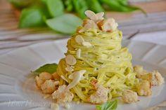Linguine di Campofilone con crema al basilico e merluzzo