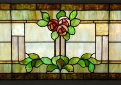 Large Vintage Arts and Crafts Stained Glass Window