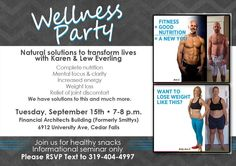 Join us in Cedar Falls for the first Wellness Party event, learn some healthy snack ideas and solutions for weight loss and more.