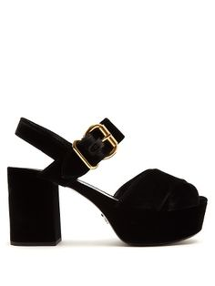 b28d6df228f Cross-strap velvet platform sandals | Prada | MATCHESFASHION.COM Block  Klackar, Skor