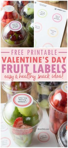 free printable Valentine fruit labels |  healthy treats for kids | healthy Valentine treats | free printable fruit labels | easy Valentine snack via @brendidblog