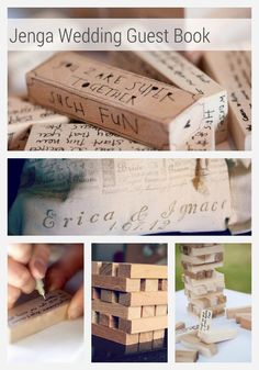 Perfect for the couple who loves games, a Wood Wedding Guest Book Puzzle. This 100 block set is a unique (and fun) alternative to the traditional guest book.