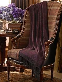 Plaid chair with a leather back, draped with a paisley throw — Ralph Lauren 48 Inspirational Traditional Decor Style To Inspire and Copy – Plaid chair with a leather back, draped with a paisley throw — Ralph Lauren Source