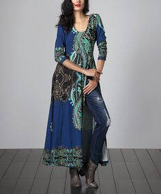 Look at this Blue Paisley Empire-Waist Split-Hem Tunic on #zulily today!