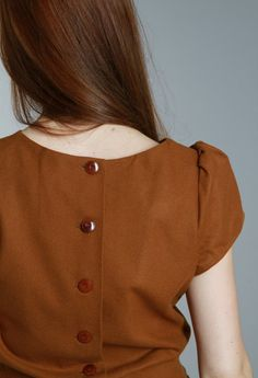 buttons down the back, cap sleeve, autumn colors