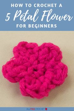 Learn how to crochet a five petal flower for beginners. This super simple crochet flower includes a video and written tutorial, so anyone can learn. Crochet Flower Tutorial, Crochet Flower Patterns, Crochet Flowers, Crochet Appliques, All Free Crochet, Learn To Crochet, Easy Crochet, Bunch Of Flowers, Crochet Videos