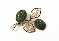 Van Dell Jade Brooch 12K Gold Filled Flower Pin Carved Jade for sale at VintageGemz.com #vintage #jewelry #etsy #style #fashion #retro #jewellery #brooch #brooch #pin