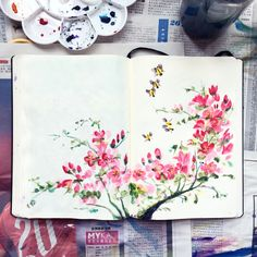 Annie Doodles — Painted some 梅花 (plum blossoms) Art Journal Pages, Art Journals, Art Floral, Watercolor Flowers, Watercolor Paintings, Drawing Flowers, Watercolor Journal, Watercolour, Drawn Art