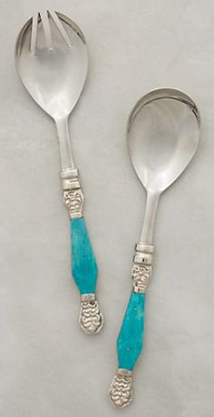 Silver and blue serving utensils