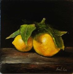 Lemons Original Oil painting by Nina R.Aide Oil by RomaGalleries, $65.00
