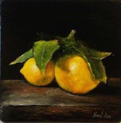 Lemons Original Oil painting by Nina R.Aide Oil by RomaGalleries