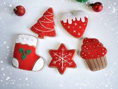 Christmas ornaments felt SET of 5 Red felt by MyMagicFelt on Etsy