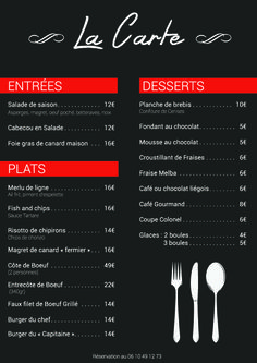 Carte du restaurant bar Plage Le Port à Montauban