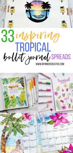 Whether its for a summer spread or a tropical spread, these 33 tropical inspired bullet journal spreads are sure to make you feel like taking a holiday! Bullet Journal Spreads, Bullet Journal Font, Bullet Journal Junkies, Journal Fonts, Planner Stickers, Planners, Diy Tumblr, Holiday Planner, Journal Themes