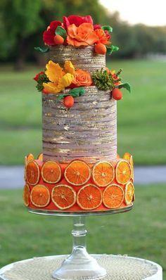 Orange Rustic Mothers day Cake by Eva Salazar… Unique Wedding Cakes, Unique Cakes, Beautiful Wedding Cakes, Gorgeous Cakes, Wedding Cake Designs, Pretty Cakes, Cute Cakes, Creative Cakes, Amazing Cakes