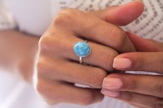 Larimar Ring, Spring, Larimar Stone Jewelry, US Size 7.75, Gifts Under 50 by TheLarimarShop on Etsy