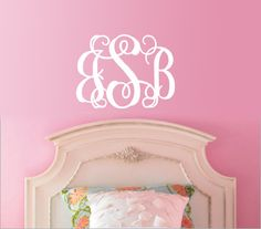 "14"" tall Monogram wall decal art vinyl wall stickers decor car sticker on Etsy, $11.99"