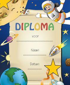 Uitreiking Space Diploma voor alle kinderen die mee hebben gedaan aan het thema. Altijd een leuke beloning. Zie www.activitheek.nl