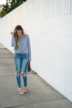 Zara striped shirt, Levi's 711 destroyed skinny jeans and nude heels. #HelloGorgeous
