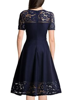 MissMay Women's Vintage 1950s Floral Lace Contrast Elegant Cocktail Swing Dress Navy Blue Medium