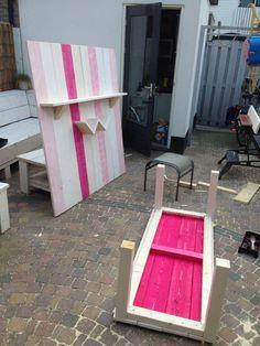 Project #steigerhout #speeltafel met #achterwand