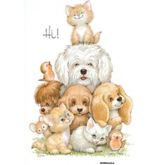 All of the baby animals at the Cottage are eagerly awaiting the arrival of the new grand-darling. Cute Images, Cute Pictures, Animal Drawings, Cute Drawings, Graffiti Kunst, Baby Animals, Cute Animals, Illustration Mignonne, Art Mignon