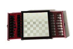 Schach Edles Schachspiel aus Holz und Spiegel  21.5 x  21.5 cm mit Figuren