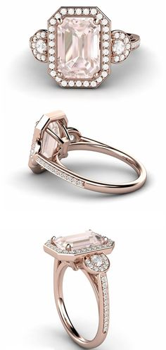 Vintage inspired Emerald cut Morganite and diamond ring  in Rose Gold.