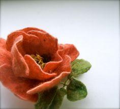 Felt brooch orange color flower- Handmade- Floral accessories- Wool brooch -felt brooch by jurooma on Etsy