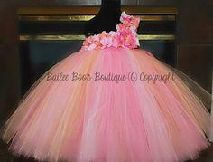 Pink Peach Coral Tutu Dress, Flower Girl Dress, Pageant Tutu Dress, 2 Toddler to 4 toddler