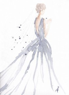 Original watercolor fashion illustration by carol x watercolor art, Watercolor Fashion, Watercolor Art, Watercolor Wedding, Simple Watercolor Paintings, Watercolor Dress, Painting Inspiration, Art Inspo, Style Inspiration, Painting & Drawing