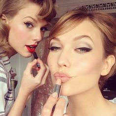Taylor Swift & Karlie Kloss from Met Gala 2014: Celebs Twitpics & Instagrams | E! Online...Karlie kloss eye make up for the next ball.