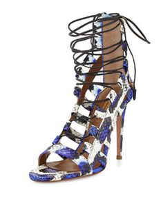 X25RH Aquazzura Amazon Lace-Up Snakeskin Sandal, Blue/White