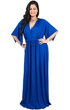 Adelyn  Vivian Womens Long Plus Size Cocktail Flowy Goddess Gown Short Slit Sleeve Half Length VNeck Sexy Flattering Flowy Formal Maxi Dresses Color Cobalt  Royal Blue Size 4X Large 4XL 2628 * Continue to the product at the image link.Note:It is affiliate link to Amazon.