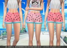 JS Sims 4: Watermelon Denim Shorts • Sims 4 Downloads