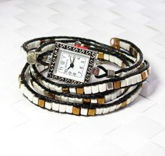 Leather wrapped watch bracelet silver bronze by SigalsDesigns