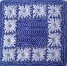 Crochet square with needle weaving
