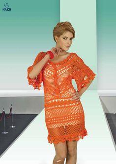 from Nako serin Yarn Stash, Crochet Books, Orange Crush, Knit Dress, Crochet Dresses, Spring Fashion, Ideias Fashion, Crochet Patterns, Cover Up
