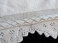 Antique French vintage bed linens quilted fabric w hand crocheted floral lace, for making pillow cover cushion case or baby sheet. $14.99, via Etsy.