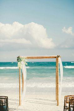 destination beach wedding simple ceremony #bamboo