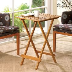 Wood Folding Tray Table --- When you need extra table space, this handsome folding tray table will help! The rectangular table top features a geometric cutout pattern. Lawn Furniture, Home Furniture, Tv Tray Table, Tv Trays, Patio Side Table, Patio Sets, Parasol, Wood Tray, End Tables