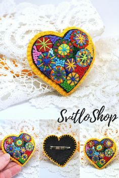 USD 18.12 Valentine gift for her Handmade jewelry Felt heart brooch Valentine's Day gift Hand embroidery French knot Small unique girlfriend gift